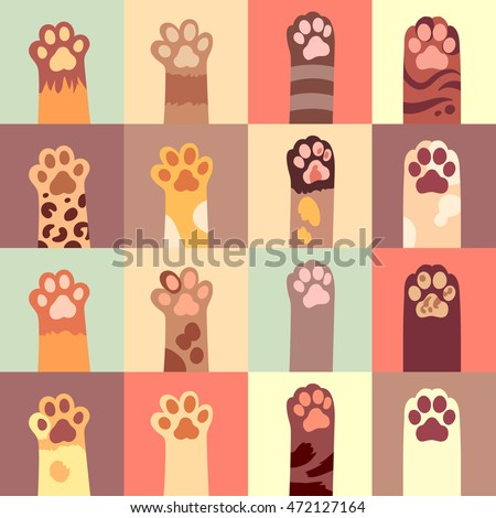 cat's paw flat icon set in