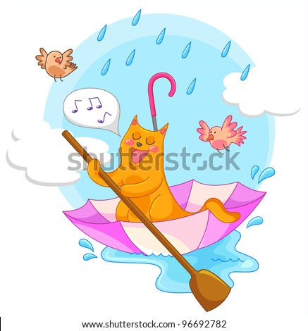 cat sailing in an umbrella and singing in the rain