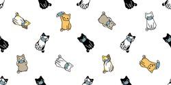 cat seamless pattern face mask covid19 kitten corona virus pm 25 vector pet animal scarf isolated repeat background cartoon tile wallpaper doodle illustration white design