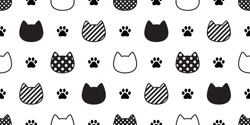 cat seamless pattern vector paw head kitten footprint calico polka dot stripe scarf isolated repeat wallpaper cartoon tile background illustration doodle