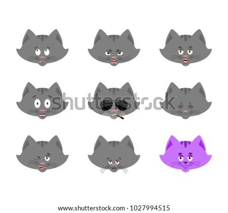 cat set emoji avatar sad and