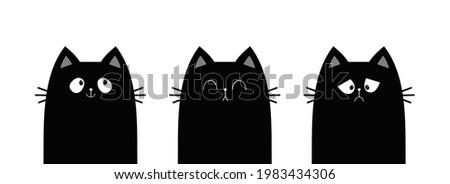 cat set line banner sad happy