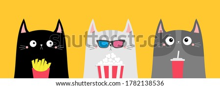 Cat set. Popcorn, soda, french fries. Cinema theater. Cute cartoon funny character. Film show. Kitten in 3D glasses watching movie. Kids print for notebook cover. Yellow background. Flat design Vector