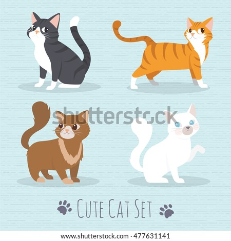 Shutterstock Cat Set, with white cat, grey cat, orange cat, brown cat Cute cats flat icons. Vector Illustration Cartoon