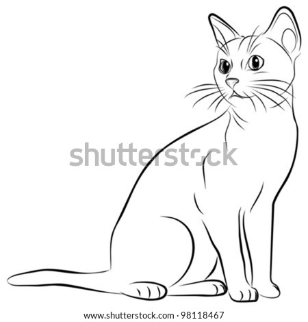 cat silhouette on a white background, vector illustration