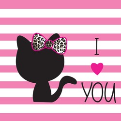 cat silhouette on striped background, love card with cat vector illustration