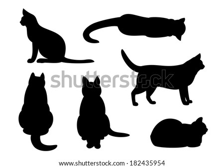 cat silhouette set - stock vector