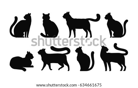 cat silhouette  set icons pets