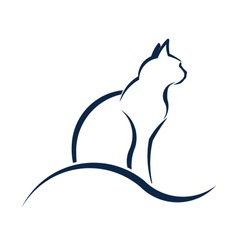 Cat silhouette with wave. Advertisement for Animal rescue, veterinary, shop