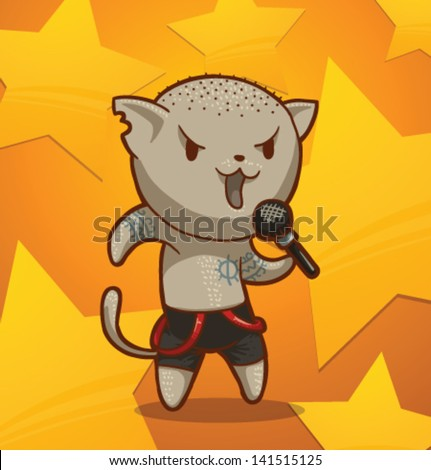 cat sings song 09  vector