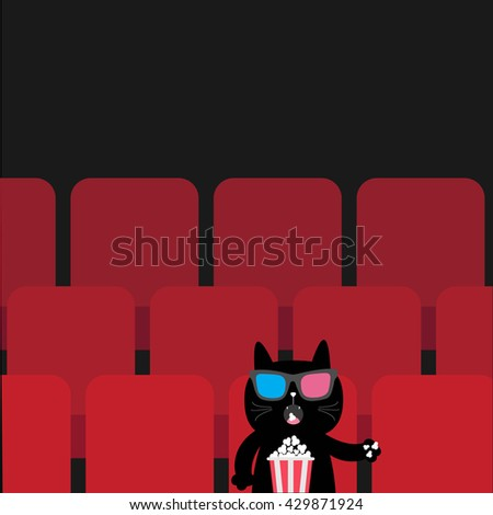cat sitting in movie theater