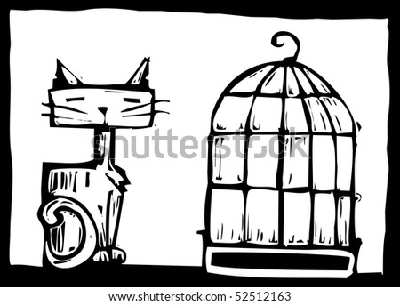Cat sitting next to an empty bird cage.