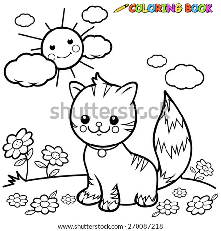 cat sitting on grass coloring
