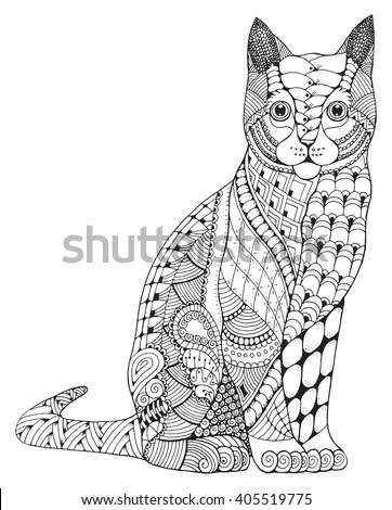 cat sitting zentangle stylized