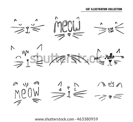 cat sketch illustration set