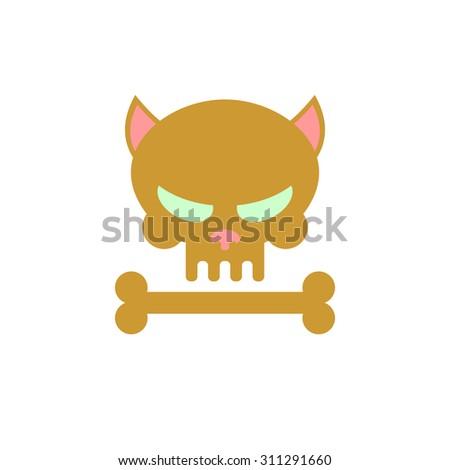 cat skull with bones head