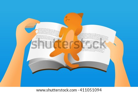 cat sleep on a book while