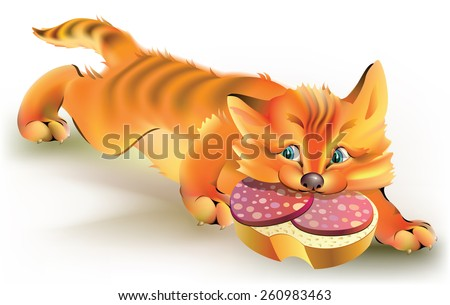 Cat stealing sandwich with sausage, vector cartoon image