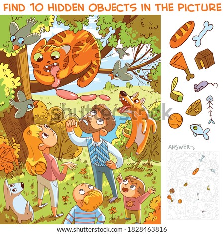 Cat stole sausage and climbed a tree. Hungry thief. Find 10 hidden objects in the picture. Puzzle Hidden Items. Funny cartoon character Foto stock ©