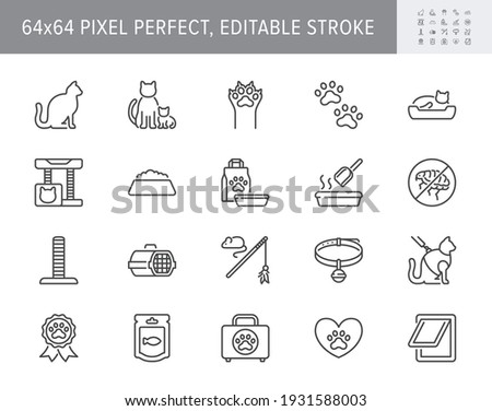 Cat stuff line icons. Vector illustration include icon - litter box, carrier, scratching post, bed, house, kitten, toy, meal outline pictogram for pet equip. 64x64 Pixel Perfect, Editable Stroke.