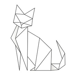 Cat stylized triangle polygonal model. Contour for tattoo, logo, emblem and design element.