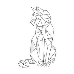 Cat stylized triangle polygonal model. Contour for tattoo, logo, emblem and design element. Hand drawn sketch of a cat