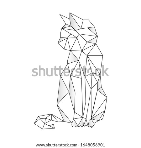 Cat stylized triangle polygonal model. Contour for tattoo, logo, emblem and design element. Hand drawn sketch of a cat Photo stock ©