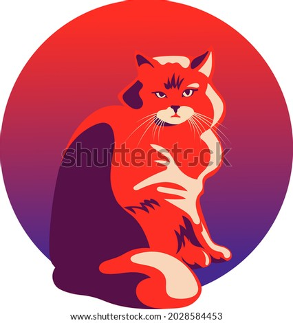 cat symbol red blue unusual character