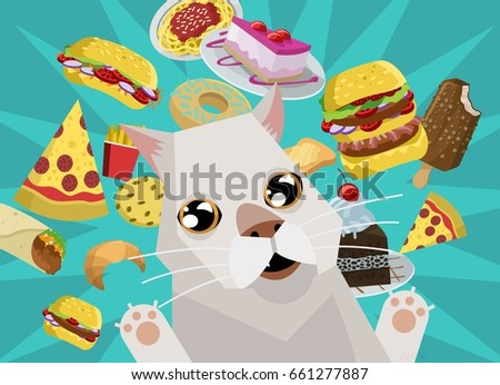 cat thinking about fast food