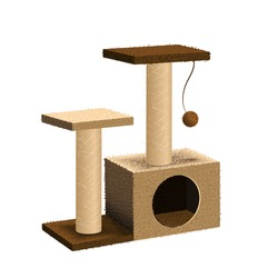 Cat tree with cat house and scratching post. Isolated pet supply. Realistic illustration of cat furniture on white background. Vector EPS10.
