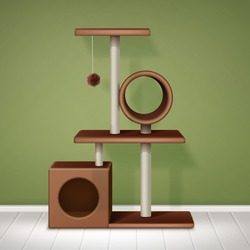 Cat tree with cat tree with house and scratching post