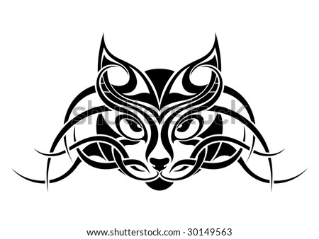 stock vector : Cat tribal tattoo design