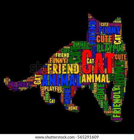 cat typography word cloud