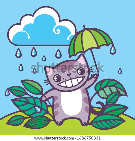 cat under an umbrella a cat