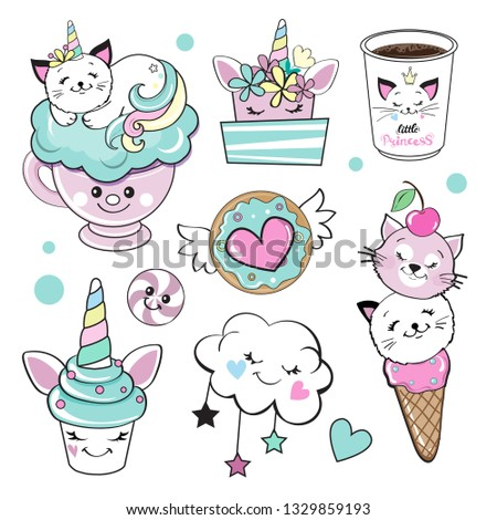 cat unicorn and sweets on a