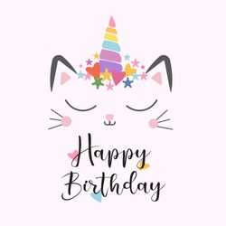 cat unicorn cute happy birthday illustration