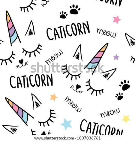 Cat unicorn seamless pattern texture / Textile graphic t shirt print / Vector illustration design