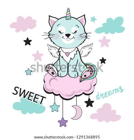 Cat unicorn with pink clouds and stars on a white background