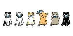 cat vector covid-19 virus face mask cartoon illustration