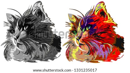 Cat vector multi-colored vector illustration isolated on white Сток-фото ©