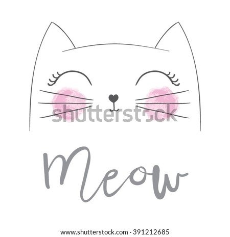 Shutterstock Cat vector,T-shirt Print,i love you,Valentine's Day,animal drawing,Children illustration for School books and more. Separate Objects,Romantic hand drawing poster/cartoon character