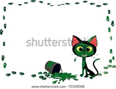Cat vs paint. The vector illustration of funny cat played with bucket of paint. No mesh, no gradients. Easy to change color of paint.