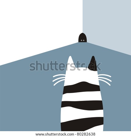 cat waiting for mouse in room