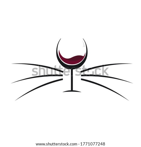 cat wine logo with the concept of wine bottles and cat whiskers Stock photo ©