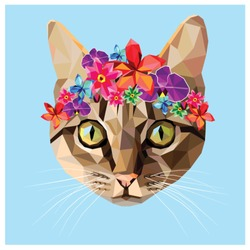 Cat with a floral crown made out of different flowers, colorful low poly design isolated on blue background with a white outline. Animal portrait card.