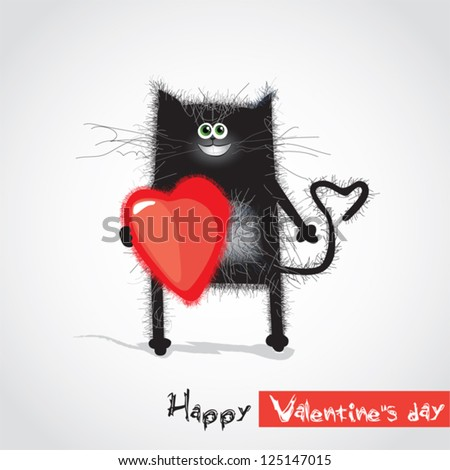 cat with a heart on Valentine's Day