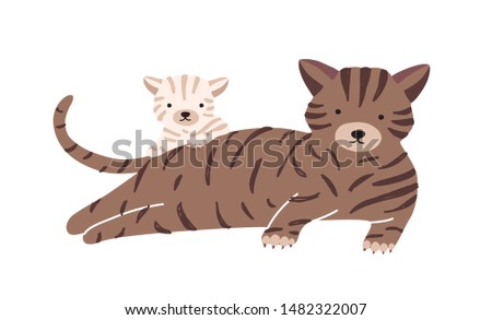 Cat with cub isolated on white background. Kitty family, domestic animals. Cute funny parent with child or youngling, mom and baby or offspring. Flat cartoon colorful vector illustration. Stockfoto ©