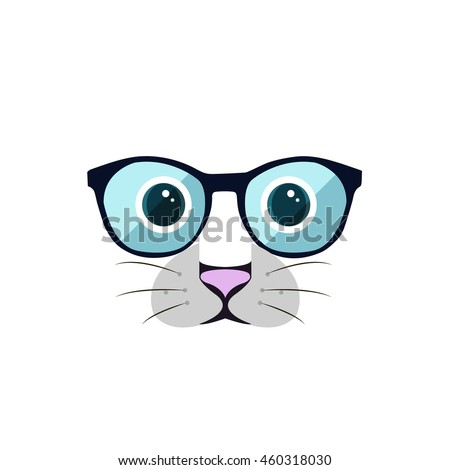Shutterstock Cat with eye-glasses. Vector illustration. Cute cartoon cat with mustaches. Cat head logo. Eps 10.