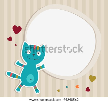 Cat with frame. Card. Vector illustration
