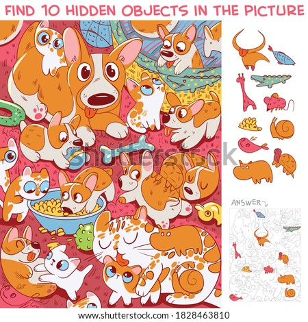 Cat with kittens and dog with puppies having fun together. Find 10 hidden objects in the picture. Puzzle Hidden Items. Funny cartoon character stock photo